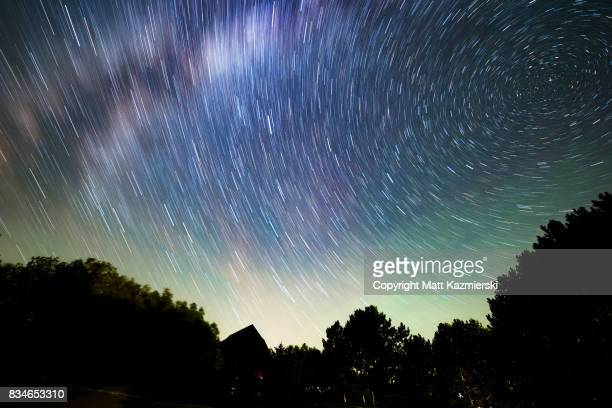 star trail sky is alive - michigan stock pictures, royalty-free photos & images