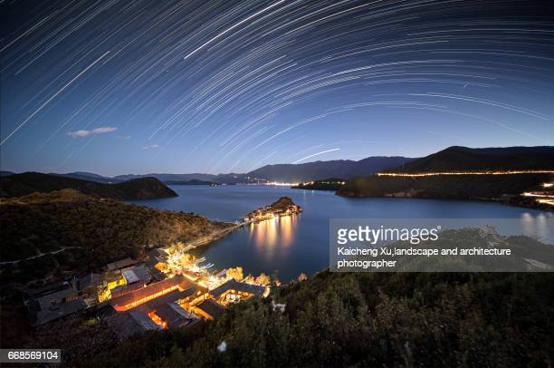 star trails  above luge lake