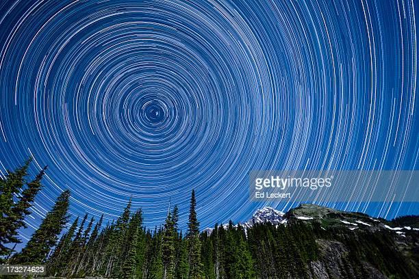 Star Trails above Mount Rainier