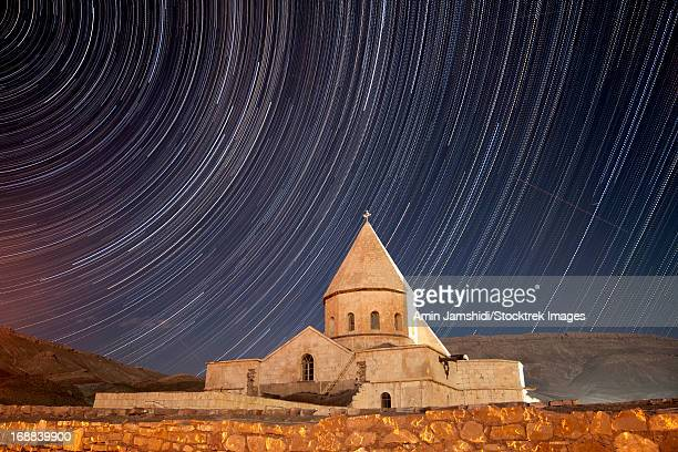 star trails above saint thaddeus monastery, azarbaijan province, northwestern iran. - monastery stock pictures, royalty-free photos & images