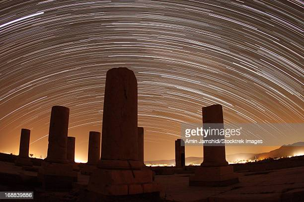 Star trails above the Private Palace of Cyrus the Great, Pasargadae, Fars Province, Iran.