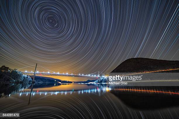 Star trails, astrophotography, Bear Mountain Bridge, Upstate New York, New York State, Hudson River