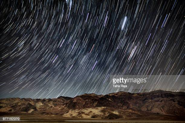Star trails at night, Death Valley National Park, California, USA