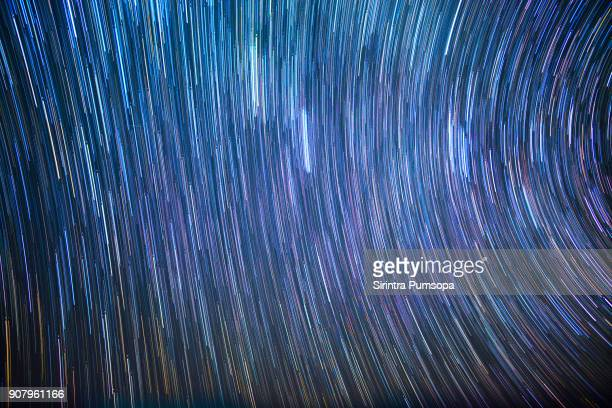 Star trails in winter night