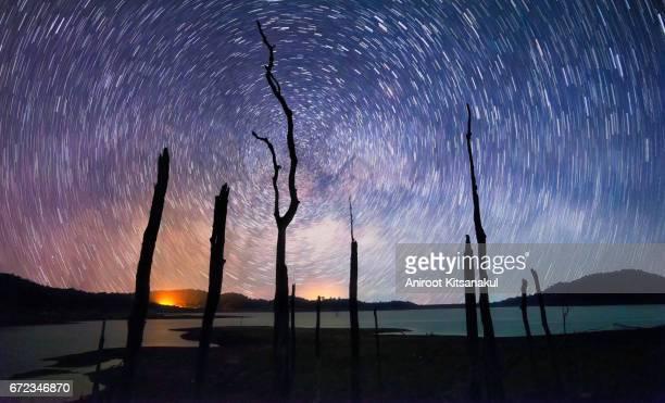 Star trails movement at night.