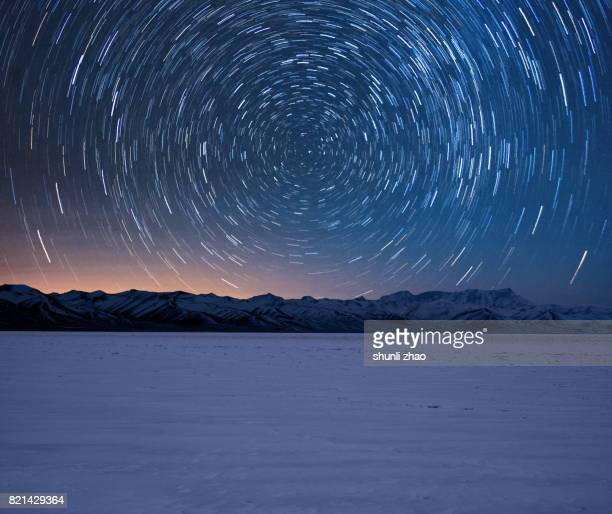 star trails of tibet - long exposure stock pictures, royalty-free photos & images
