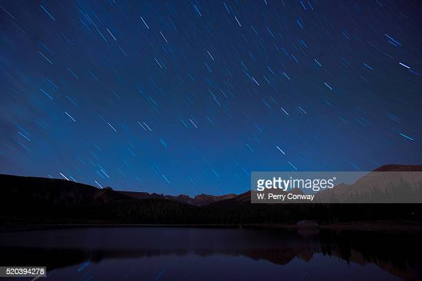 Star trails over a lake