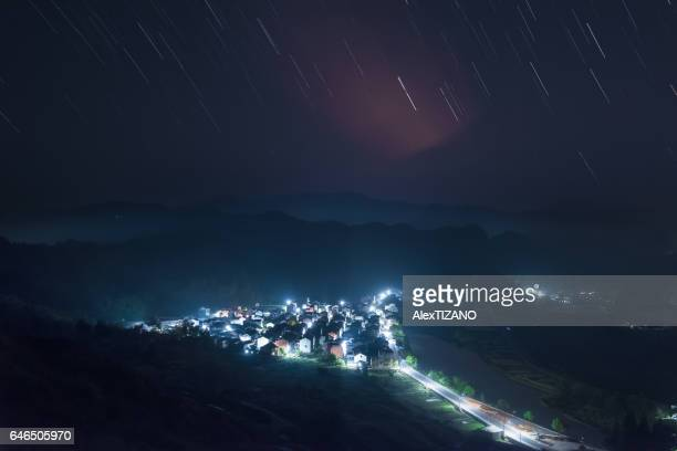 Star Trails over a Small Village in Zhejiang Province