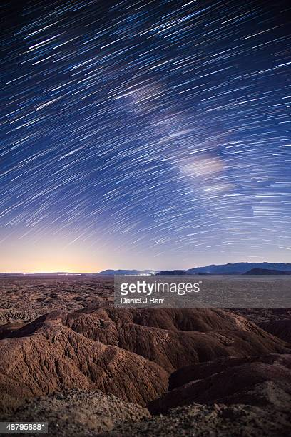 star trails over borrego badlands - barr stock pictures, royalty-free photos & images