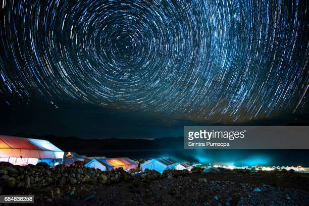 Star trails over Camping tent at Pangong Lake, Leh, Ladakh, India