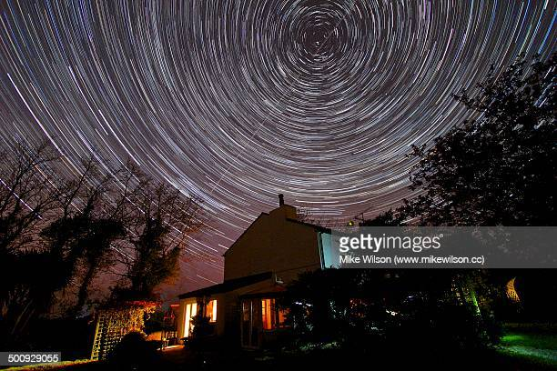 Star Trails over Country Home