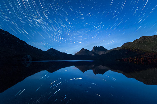 Star Trails over Cradle Mountain, Tasmania. - gettyimageskorea