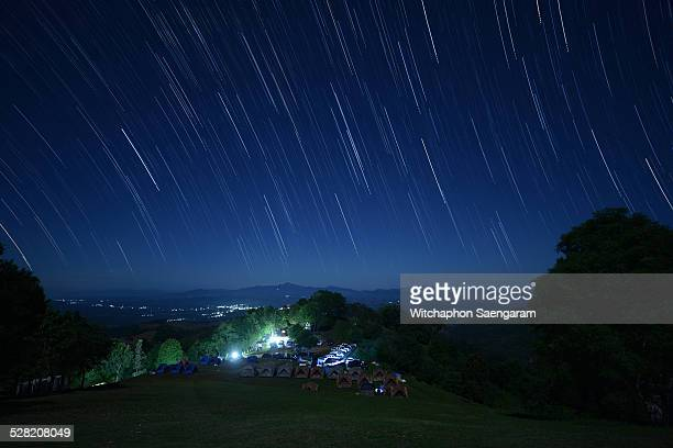 Star trails over Doi Samer-Dao in Nan Province