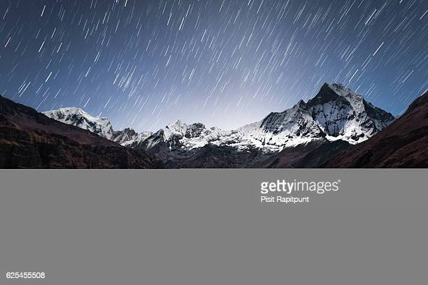 Star trails over Mt. Machapuchare (6,993m)