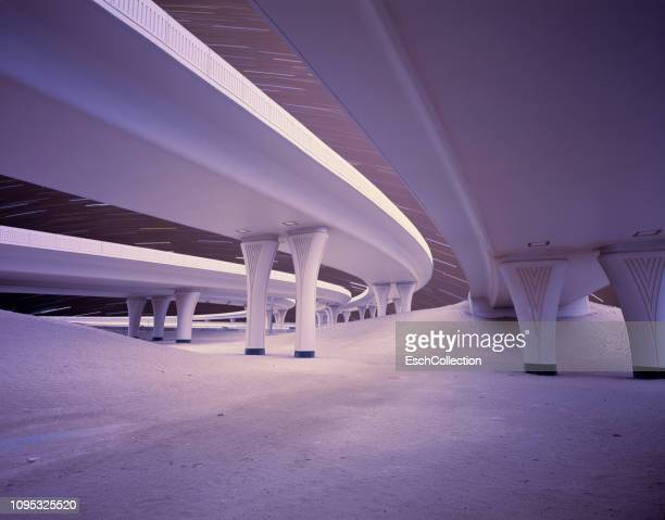 star trails over newly built road infrastructure - viaduct stock pictures, royalty-free photos & images