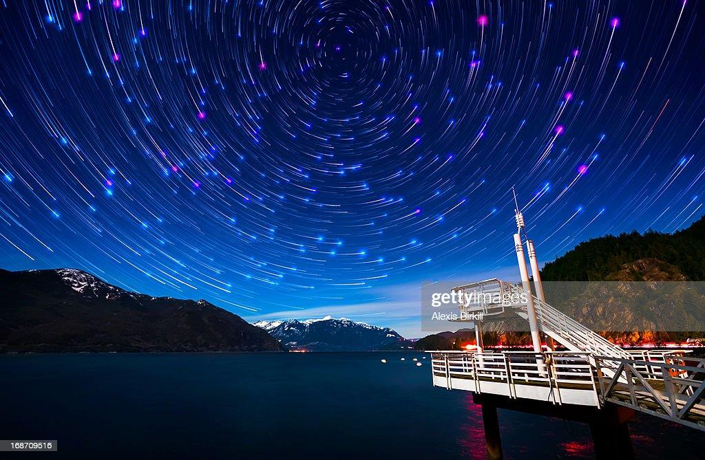 Star Trails over Porteau Cove : Stock Photo