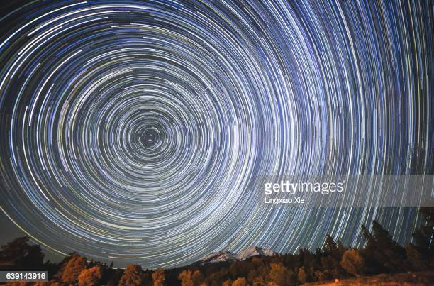 Star Trails over Snowcapped Mount Shasta