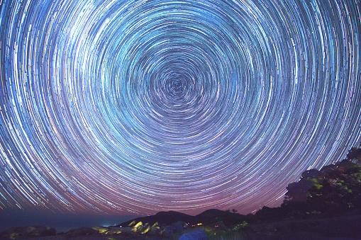 Star Trails with the aurora - gettyimageskorea