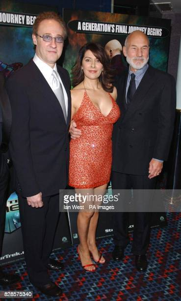 Star Trek actors from left to right Brent Spiner Marina Sirtis and Patrick Stewart arrive for the European Charity Premiere of Star Trek Nemesis at...