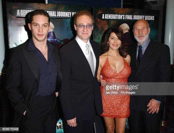 Star Trek actors from left to right Tom Hardy Brent Spiner Marina Sirtis and Patrick Stewart arrive for the European Charity Premiere of Star Trek...