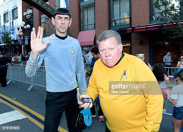 Star Trek cosplayers attend ComicCon International on July 22 2016 in San Diego California