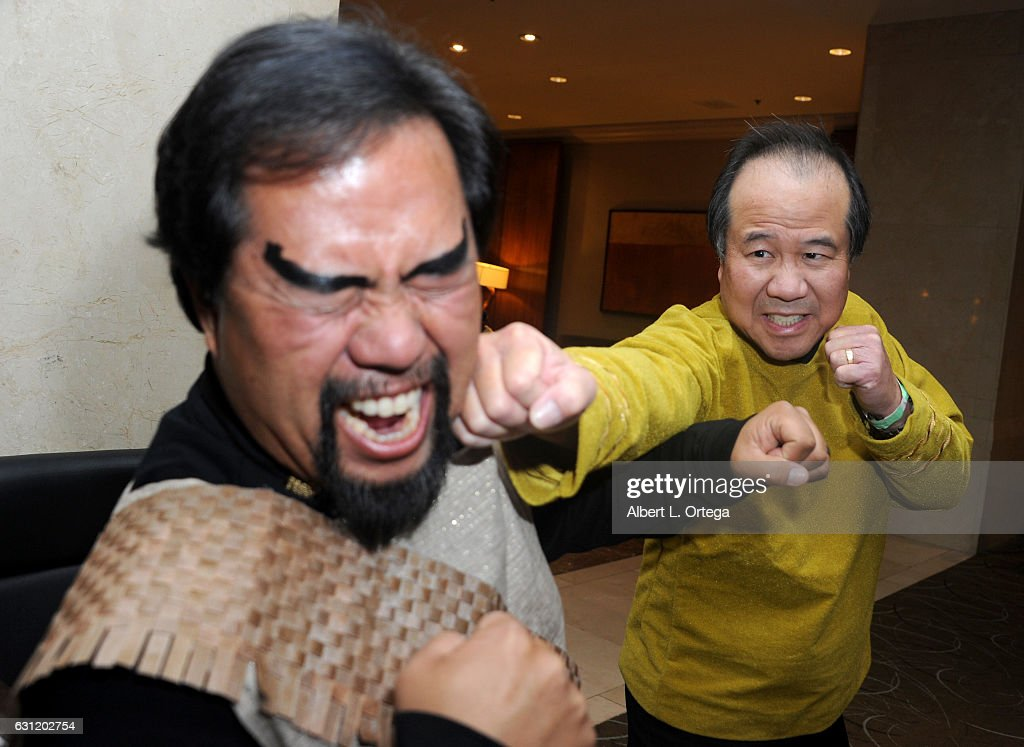 Star Trek cosplayers Bill Arucan and David Cheng spar at The Hollywood Show held at The Westin Los Angeles Airport on January 7, 2017 in Los Angeles, California.