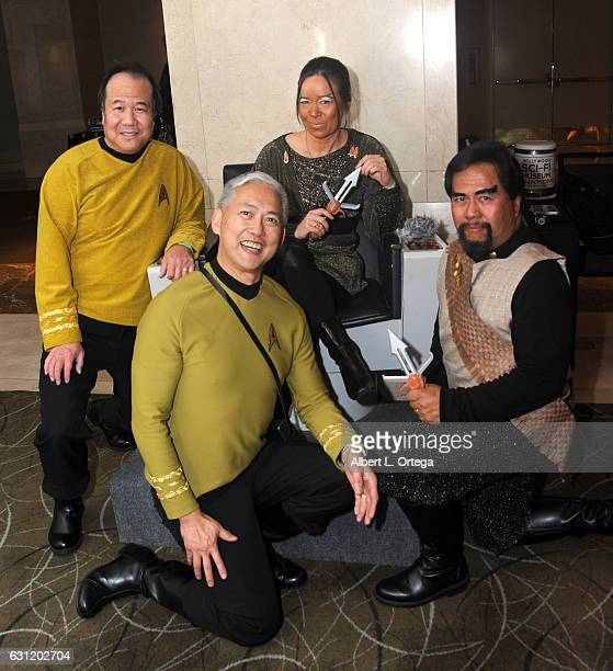 Star Trek cosplayers Mark Lum David Cheng Michelle Wells and Bill Arucan attend The Hollywood Show held at The Westin Los Angeles Airport on January...