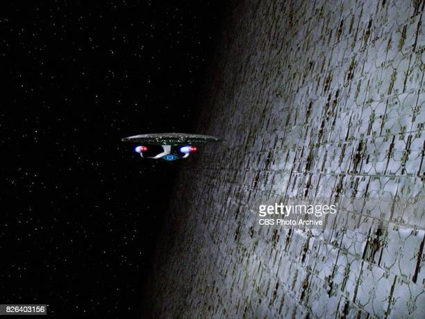 Star Trek The Next Generation episode 'Relics' originally broadcast October 12 1992 The starship Enterprise along side a Dyson sphere Image is a...