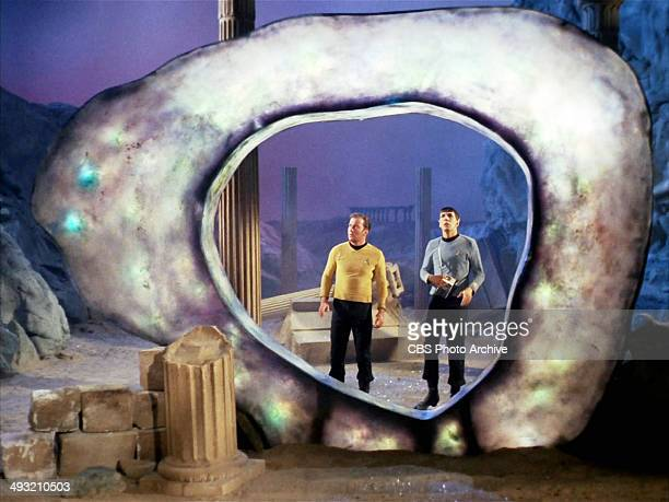 """Star Trek, The Original Series, episode """"The City on the Edge of Forever"""" first broadcast on April 6, 1967. Seen here, a glowing ring known as the..."""