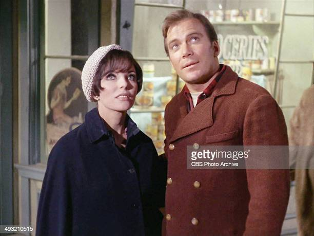 """Star Trek, The Original Series, episode """"The City on the Edge of Forever"""" first broadcast on April 6, 1967. From left, Joan Collins and William..."""
