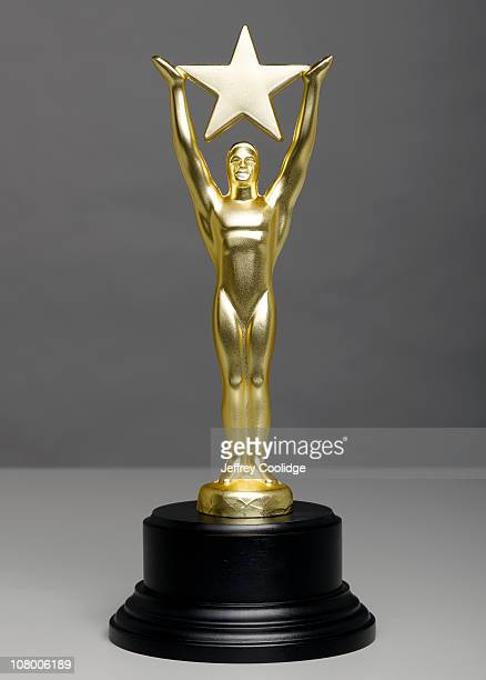Star Trophy on Gray Background