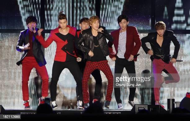 Star U-Kiss perform on stage during the K-POP festival on September 28, 2013 in Wonju, South Korea. K-POP Festival in Gangwon 2013 is a cover dance...