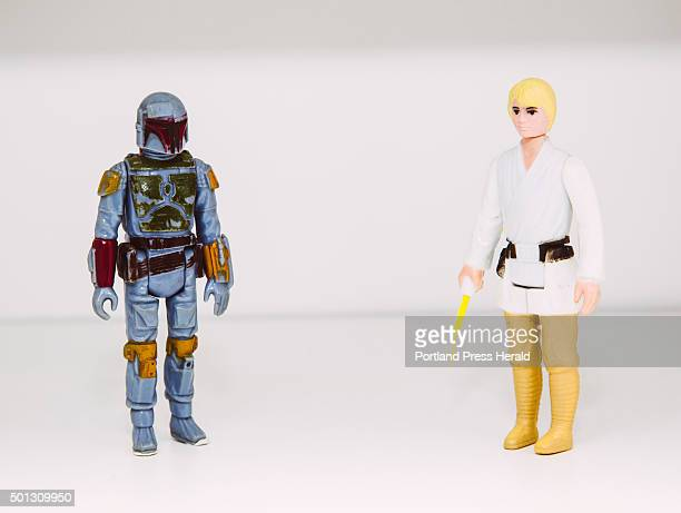 Star Wars action figures, Boba Fett and Luke Skywalker, apart of Tom Long's collection at his home in Portland, ME on Wednesday, December 2, 2015.