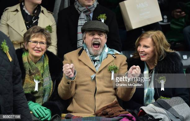 Star Wars actor Mark Hamill cheers as the annual Saint Patrick's day parade takes place on March 17 2018 in Dublin Ireland Hamill is the the first...