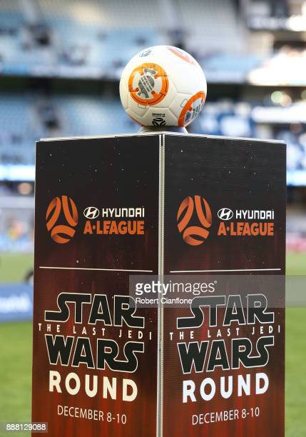 Star Wars ball is seen before the round 10 ALeague match between the Melbourne Victory and Adelaide United at Etihad Stadium on December 8 2017 in...