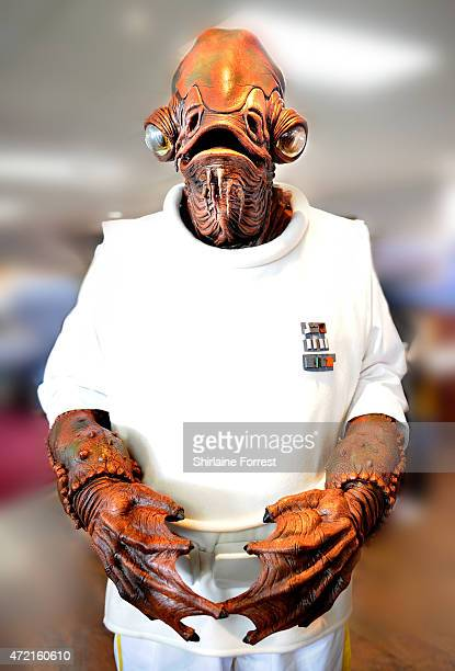 Star Wars character Admiral Ackbar of the Rebel Alliance by The 99th Garrison attends Star Wars Fan Fun Day at Burnley Football Club on May 4 2015 in...