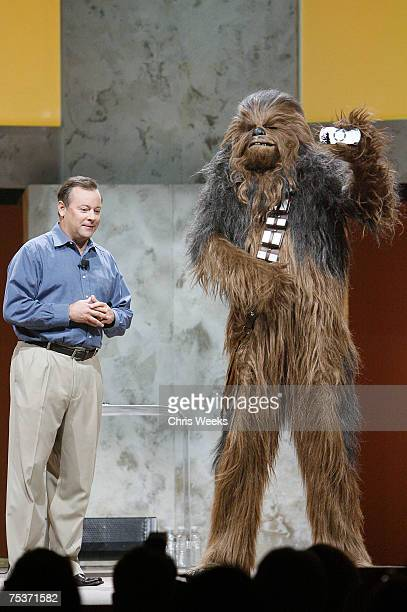 Star Wars character Chewbacca presents the new Star Wars PlayStation Portable Player to Sony Computer Entertainment CEO Jack Tretton at the Sony...