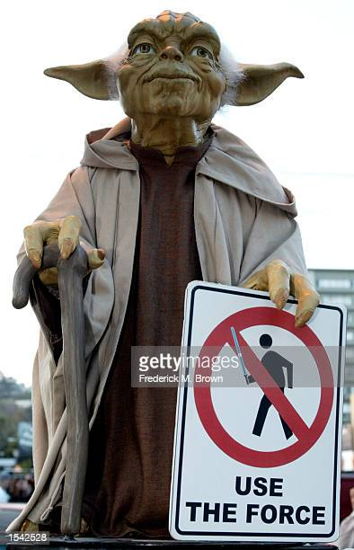 Star Wars character Yoda during the opening day of the film Star Wars Espisode II Attack Of The Clones May15 2002 in Los Angeles CA