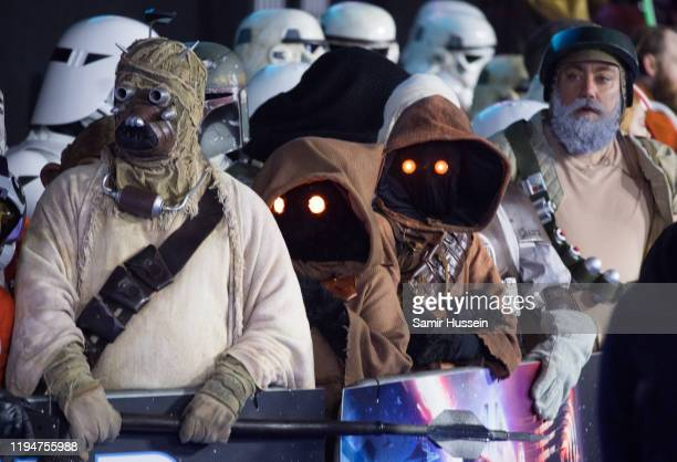 Star Wars characters attend Star Wars The Rise of Skywalker European Premiere at Cineworld Leicester Square on December 18 2019 in London England