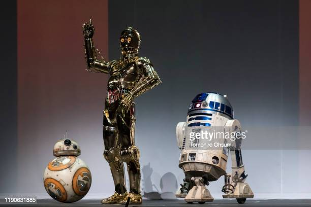 Star Wars characters BB8 C3PO and R2D2 pose before the 'Star Wars Kabuki' performance that was produced to promote the upcoming release of 'Star Wars...