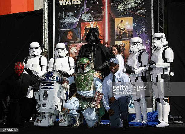 Star Wars characters Darth Maul Imperial Stormtroopers R2D2 Boba Fett Darth Vader Neosia Morris Princess Leia and Postman Neosia Morris help the...