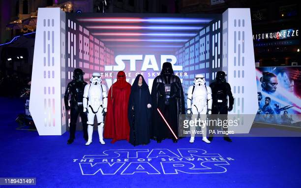 Star Wars characters Darth Vader, an Imperial Royal Guard, Emperor Palpatine and Stormtroopers attending the Star Wars: The Rise of Skywalker...