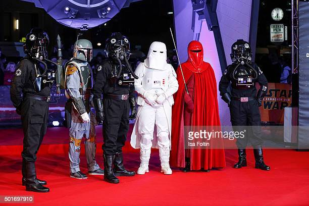 Star Wars characters during the German premiere for the film 'Star Wars The Force Awakens' at Zoo Palast on December 16 2015 in Berlin Germany