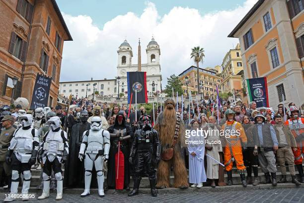 Star Wars characters during the Star Wars Day 2019 at Piazza di Spagna on May 04 2019 in Rome Italy