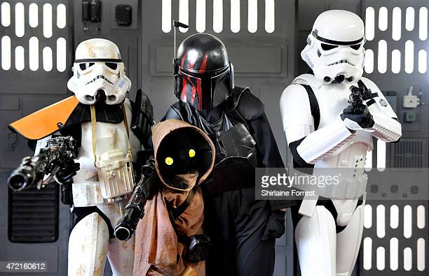 Star Wars characters Imperial Stormtroopers and a Jawa by The 99th Garrison attend Star Wars Fan Fun Day at Burnley Football Club on May 4 2015 in...