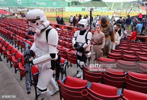 Star Wars characters including Storm Troopers arrive at Fenway Park before the game celebrating Star Wars Day at Fenway Park in Boston on May 04 2017