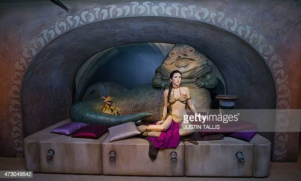 Star Wars characters Jabba The Hutt and Princess Leia are pictured at the Star Wars At Madame Tussauds attraction in London on May 12 2015 AFP...
