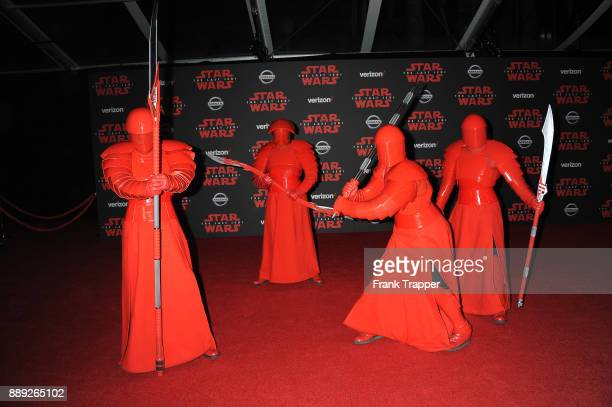 Star Wars characters perform for the premiere of Disney Pictures and Lucasfilm's 'Star Wars The Last Jedi' held at The Shrine Auditorium on December...