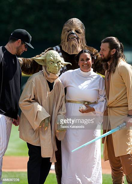 Star Wars characters prepare to throw out the first picth durring Star Wars Day before the Chicago White Sox take on the Minnesota Twins at US...