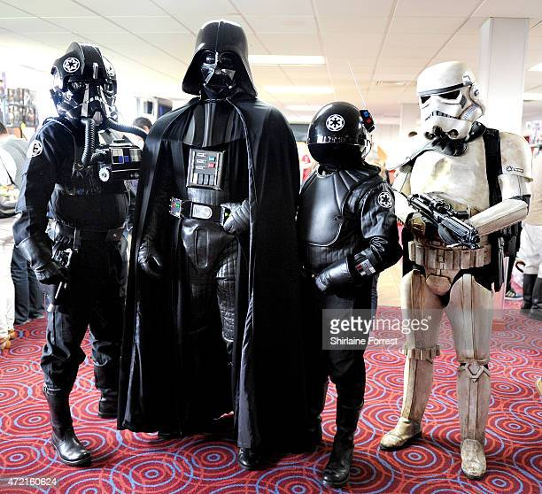 Star Wars characters TIE Figher pilot Darth Vader Death Star Imperial Gunner and a Stormtooper of the Galactic Empire by The 99th Garrison attend...